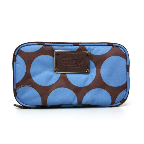 Compact Brush Case - Chocolate Blue Polka Dot