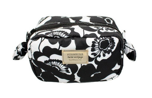 Travel Cosmetics Pouch with Ribbon - Flower Blossom - Black White