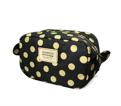 Travel Cosmetics Pouch With Ribbon - Golden Dotty