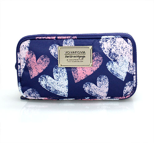 Compact Brush Case - Dancing Hearts - Blue
