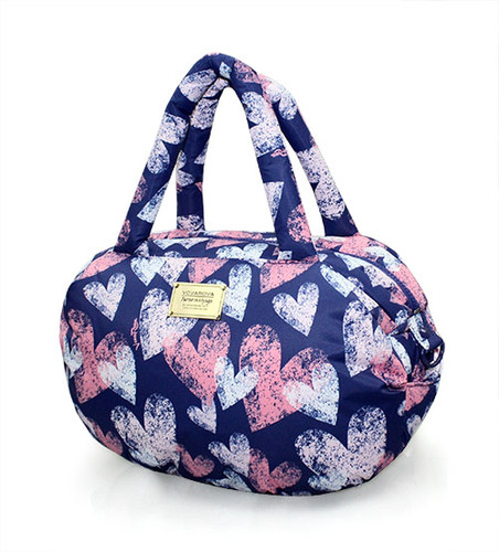 3-way Shoulder Tote - Dancing Hearts - Blue