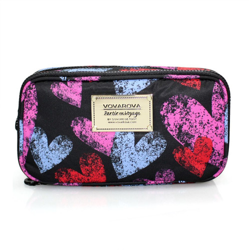 Compact Brush Case - Dancing Hearts - Black