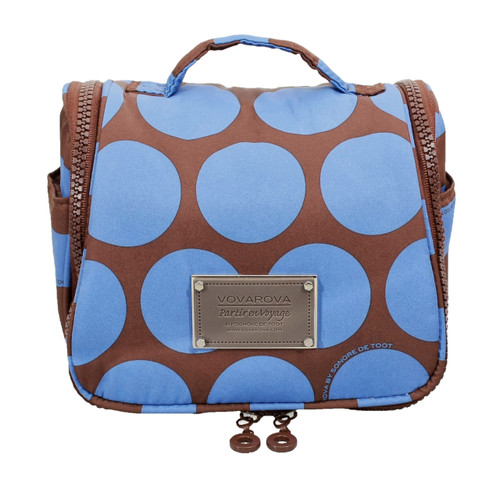 Toiletry Pouch - Chocolate Blue Polka Dot