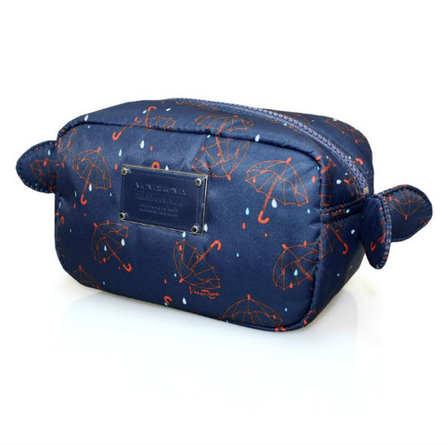 Travel Cosmetics Pouch With Ribbon - Singing in the rain - Blue