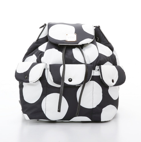 2 way Drawstring Hobo Bag - Pop Dot - Black & White