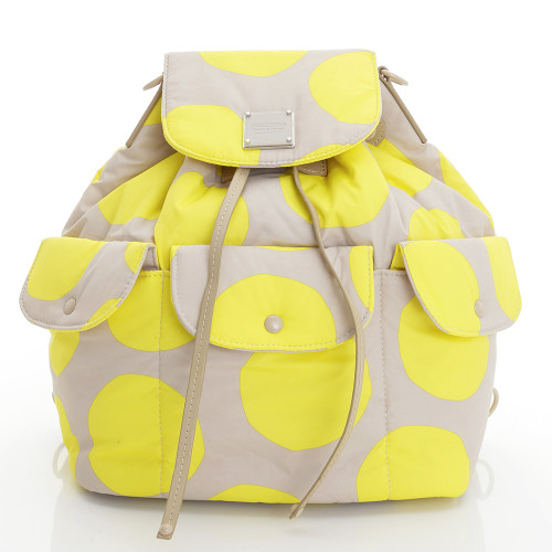 2 way Drawstring Hobo Bag - POP DOT Beige Yellow