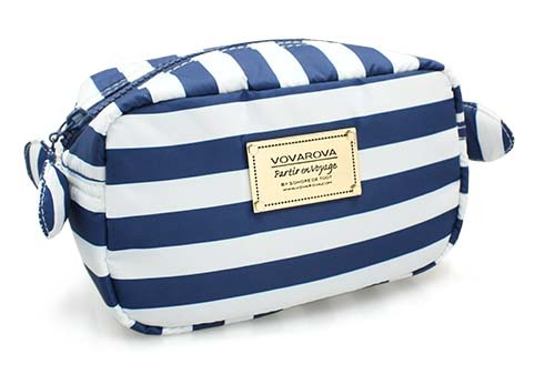 Travel Cosmetics Pouch With Ribbon - STRIPE Navy White