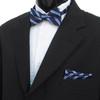 3pc Men's Navy Clip-on Suspenders, Striped Bow Tie & Hanky Sets FYBTHSU-NV6