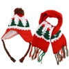 Kid's Winter Knitted Ear Flap Lined Christmas Tree Pom Beanie Scarf with Tassel and Hat Set - KKWS1725