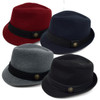 Fall/Winter Trilby Fedora Hat with Button Accent & Band Trim H171227