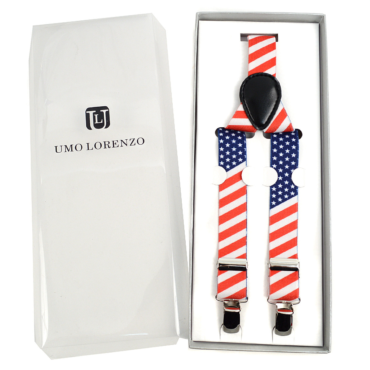 Men's Y-Back American Flag Adjustable Elastic Clip-on Suspenders
