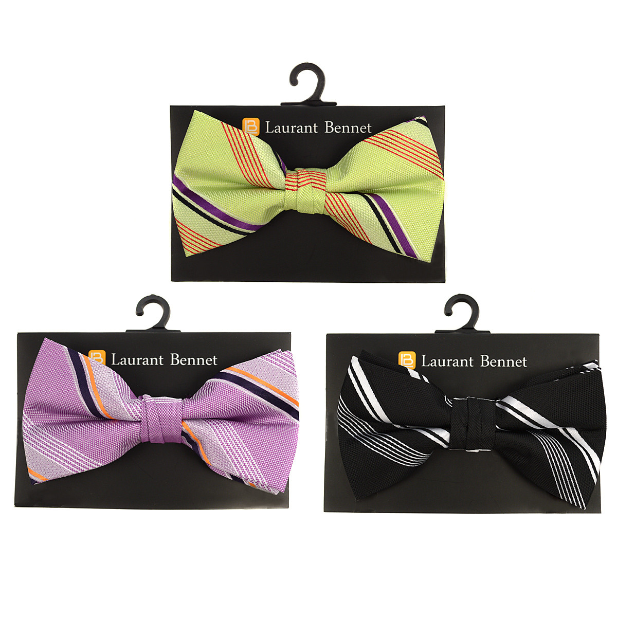 3pc Prepack Men's Poly Woven Striped Banded Bow Tie FBB5843