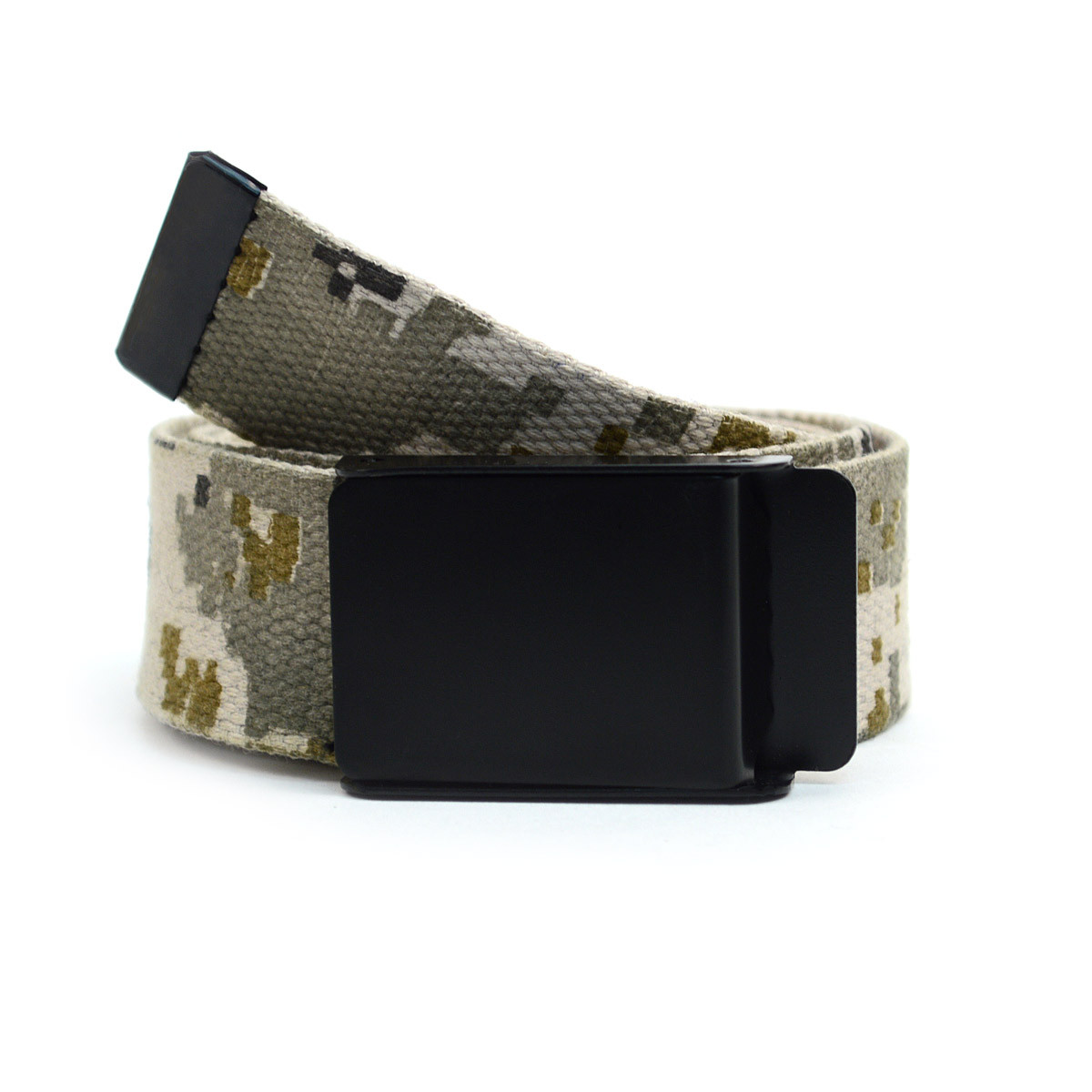 12pc Size Assorted Men's Flip-To Buckle Military Camo Canvas Belt MILB3307