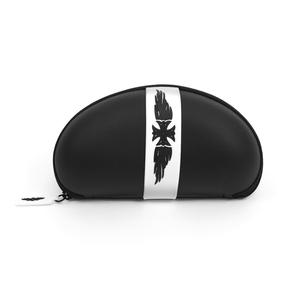12pc Assorted Winged Iron Cross Hard Plastic Glasses Case with Zipper Enclosure BE151