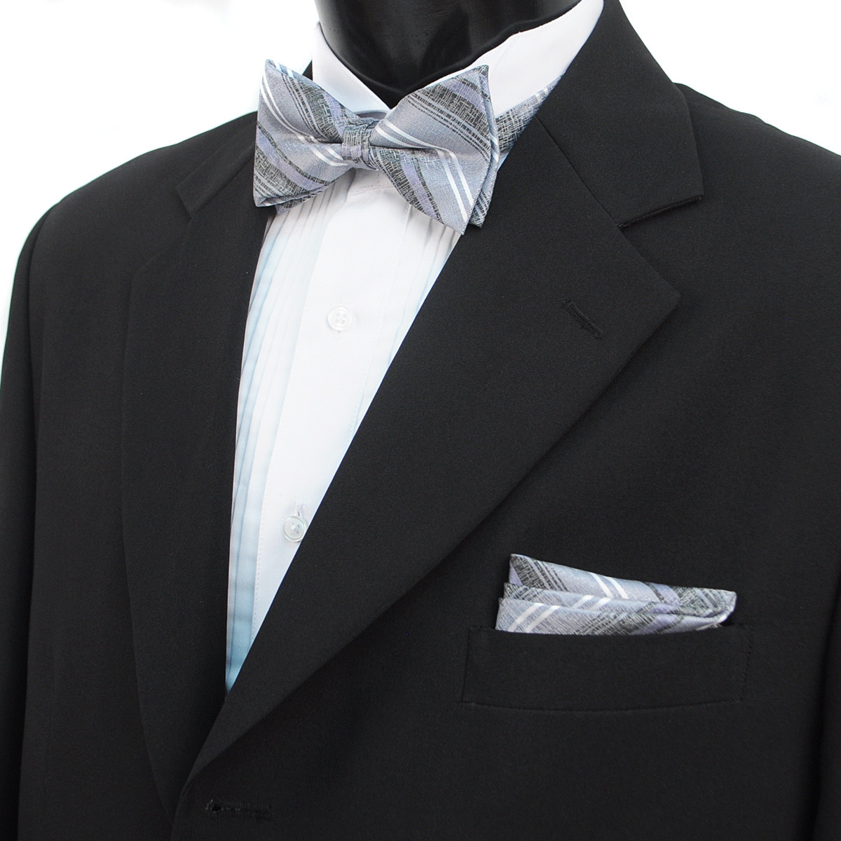 3pc Men's Charcoal Clip-on Suspenders, Distressed Striped Bow Tie & Hanky Sets FYBTHSU-GRY4