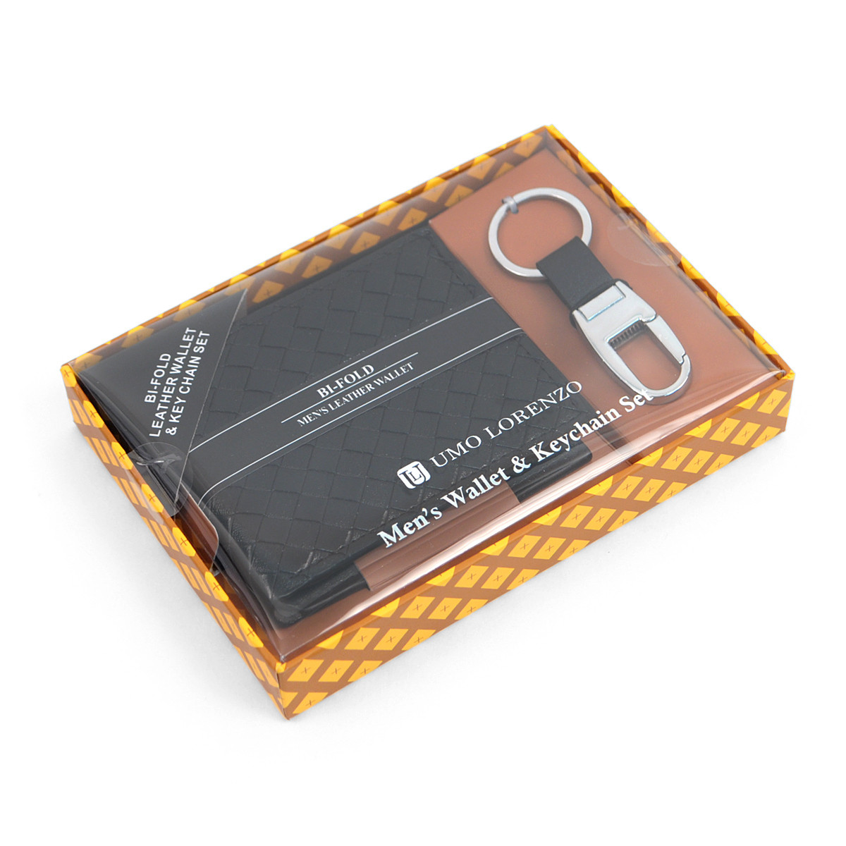 12pc Black Woven Leather Wallet & Keychain Set WKB17103