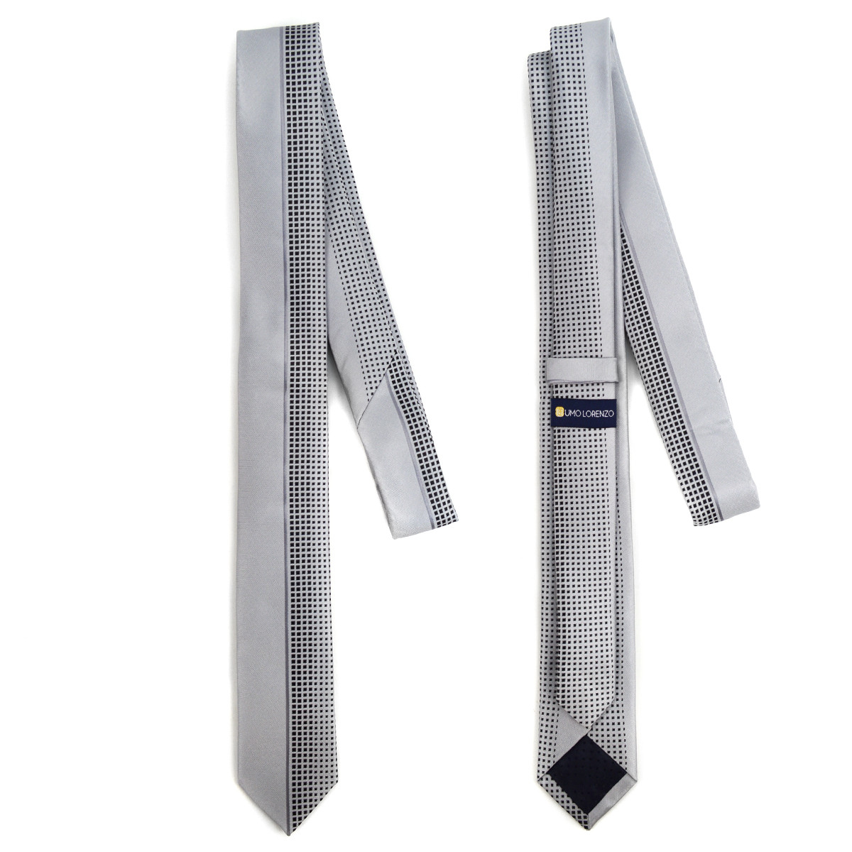 "Grey Microfiber Poly Woven 2.25"" Slim Panel Tie MPPW1625"
