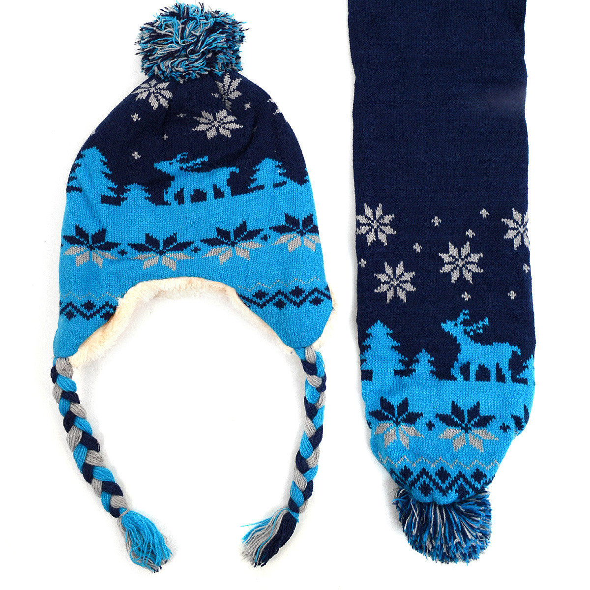 Kid's Winter Knitted Ear Flap Lined Reindeer Pom Beanie Scarf and Hat Set - KKWS1732