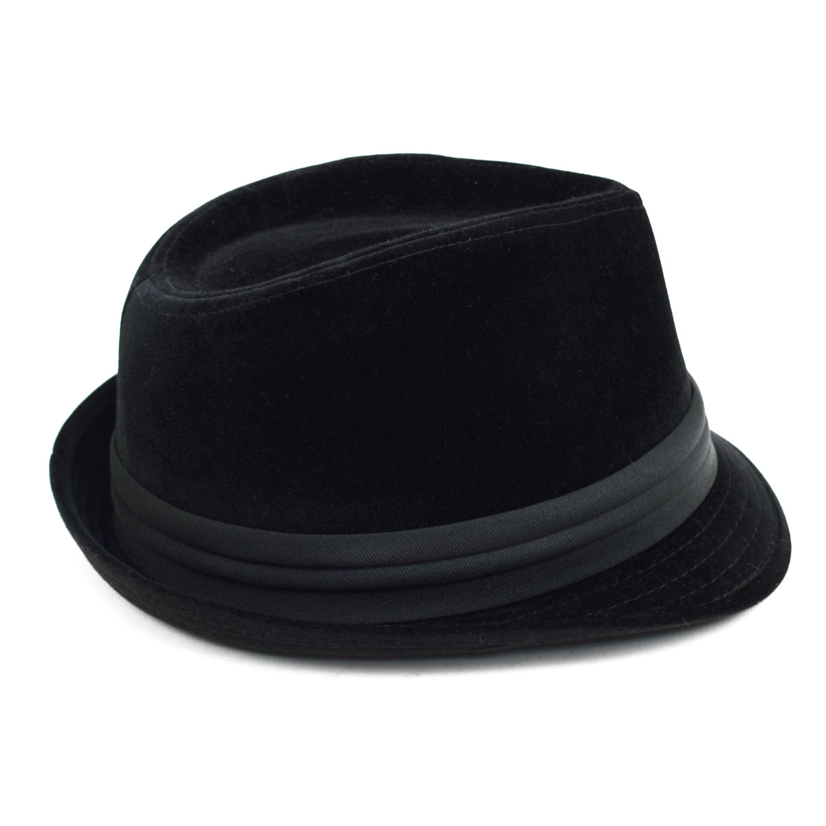 Fall/Winter Velvet Trilby Fedora Hat with Band Trim H171226-BLK