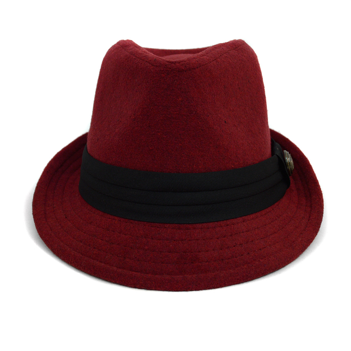 Fall/Winter Fedora Hat with Button Accent & Band Trim H171227