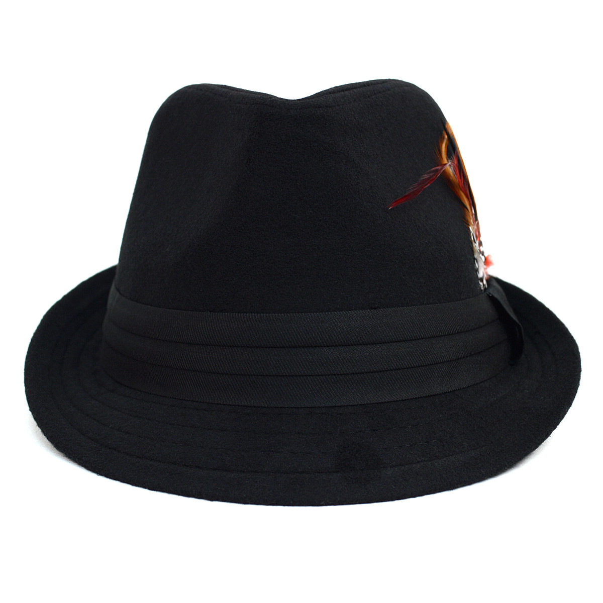 Fall/Winter Trilby Fedora Hat with Feather Accent & Band Trim H10333-BK