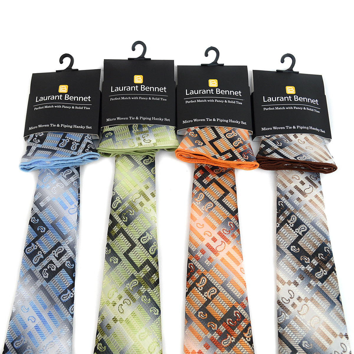 Geometric Paisley Pattern Tie & Matching Pocket Round Set MPWTH170630