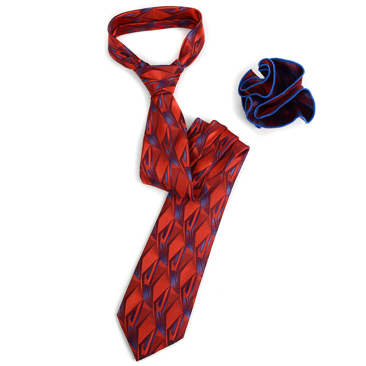 Abstract Pattern Tie & Matching Pocket Round Set MPWTH170635