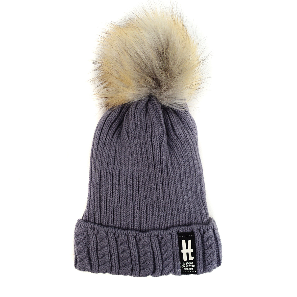 Kid's Ribbed & Cable Knit Pom Pom Ski Hats KPH1701