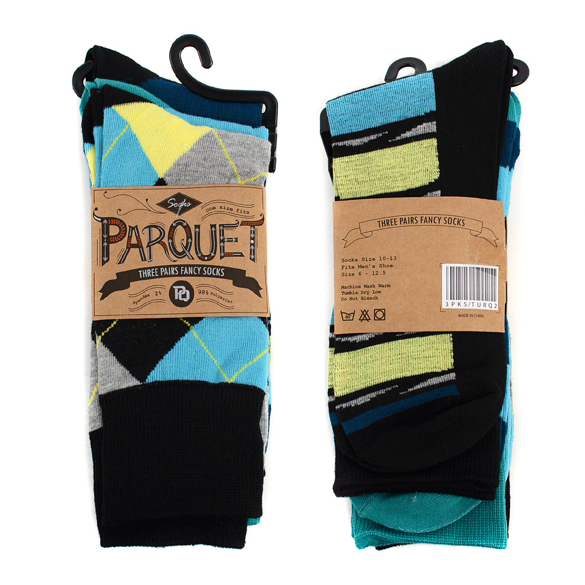 Assorted Pack (3 Pairs) Men's Turquoise Casual Fancy Socks 3PKS/TURQ2