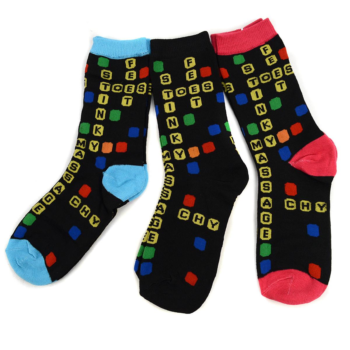 4-Packs (3 pairs/pack) Women's Scrabbl Novelty Socks 3PKSWCS-538