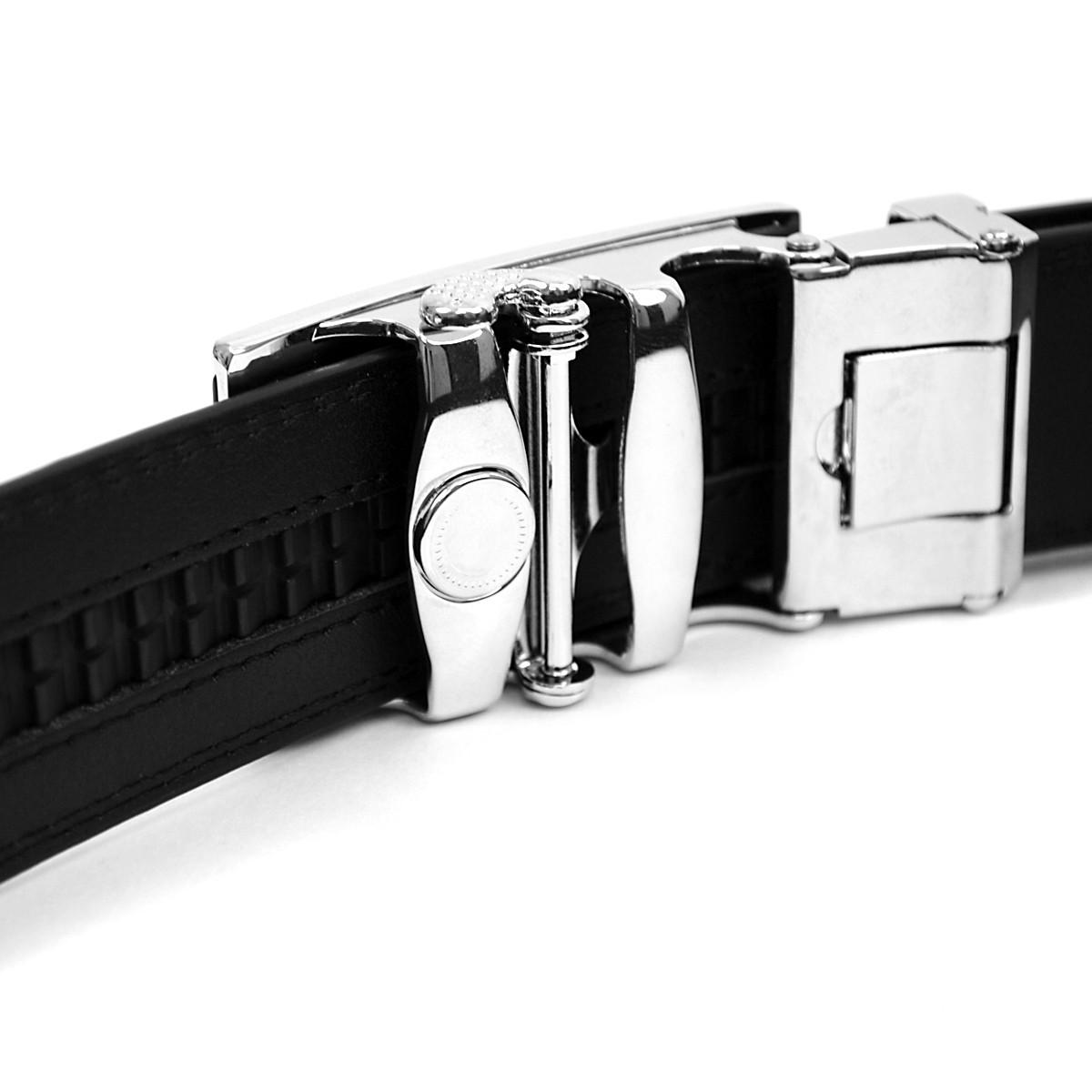 Men's Genuine Leather Sliding Buckle Ratchet Belt MGLBB43