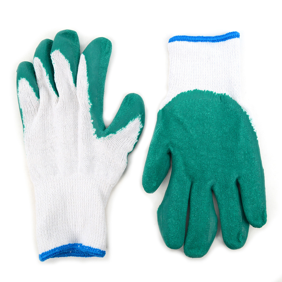 12 Pack Working Gloves with Rubber Palm Coated - Green - WGL1714