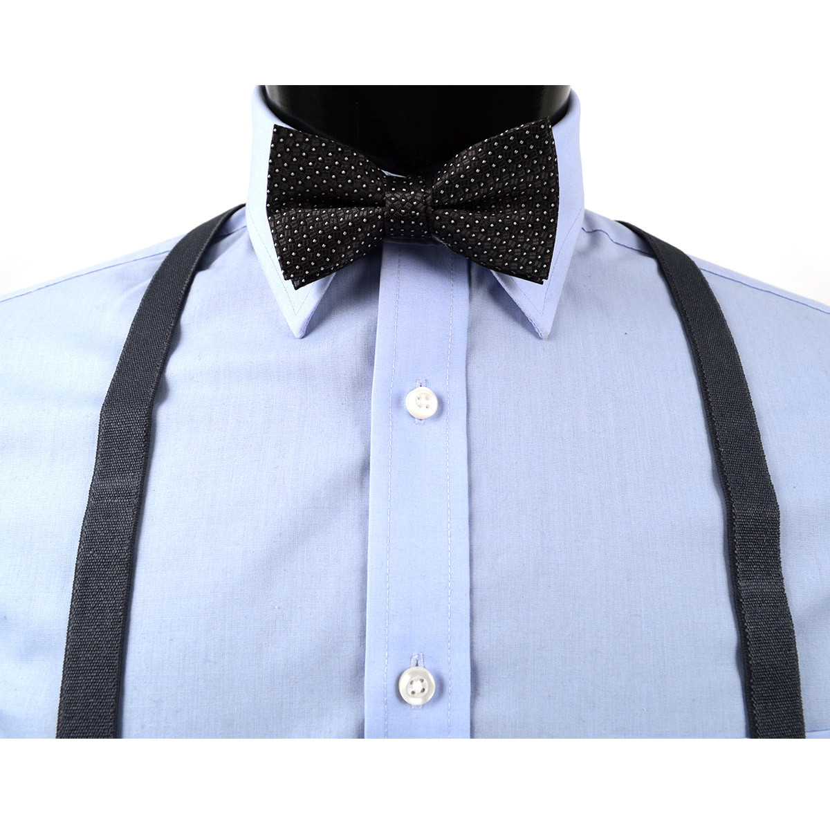 Boy's Charcoal Clip-on Suspender & Dotted Bow Tie Set(4~7 Years)