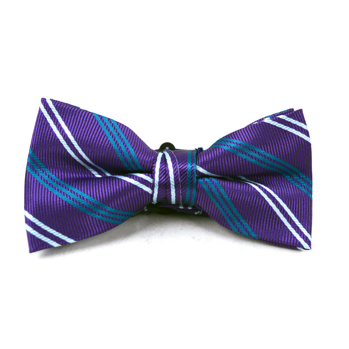 Boy's Purple Clip-on Suspender & Striped Matching Bow Tie Set(4~7 Years)