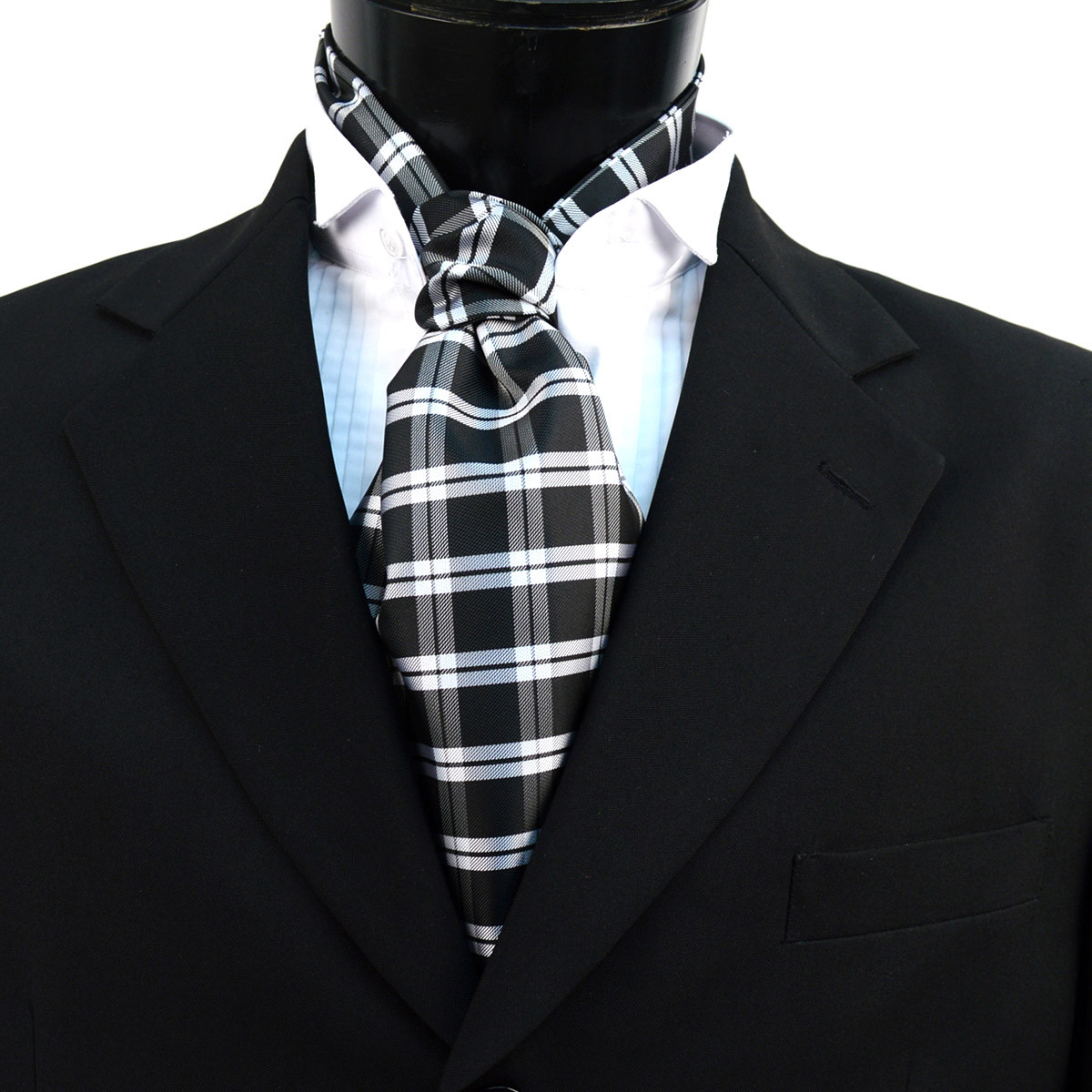 Plaid Pattern Microfiber Poly Woven Ascot With Hooks - PPA1712