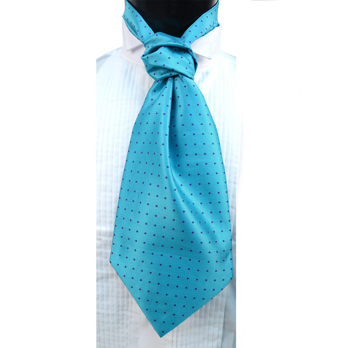 Polka Dots Pattern Microfiber Poly Woven Ascot With Hooks - PPA1714