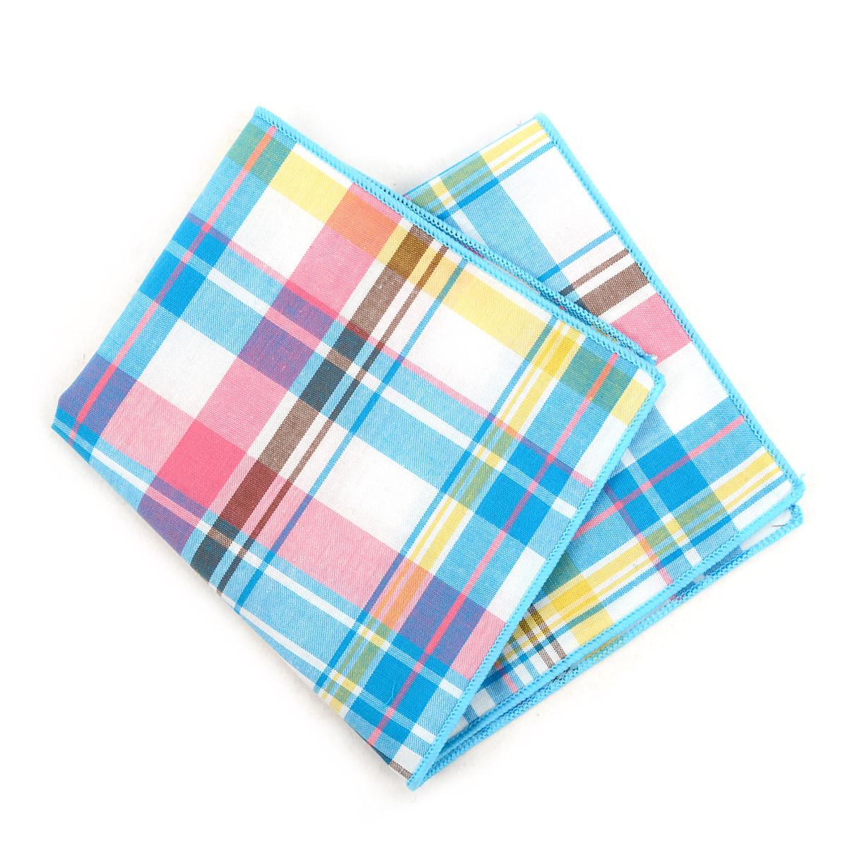 12pc Pastel Color 100% Cotton Plaid Pocket Square Handkerchiefs - CH1715