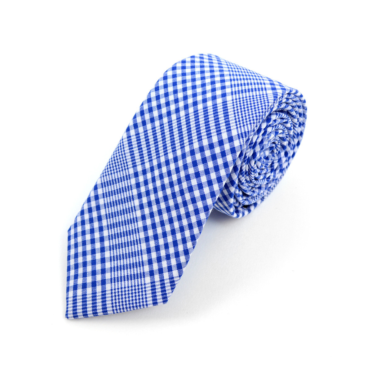 "Men's Royal Blue Plaid 2.25"" Cotton Slim Tie"