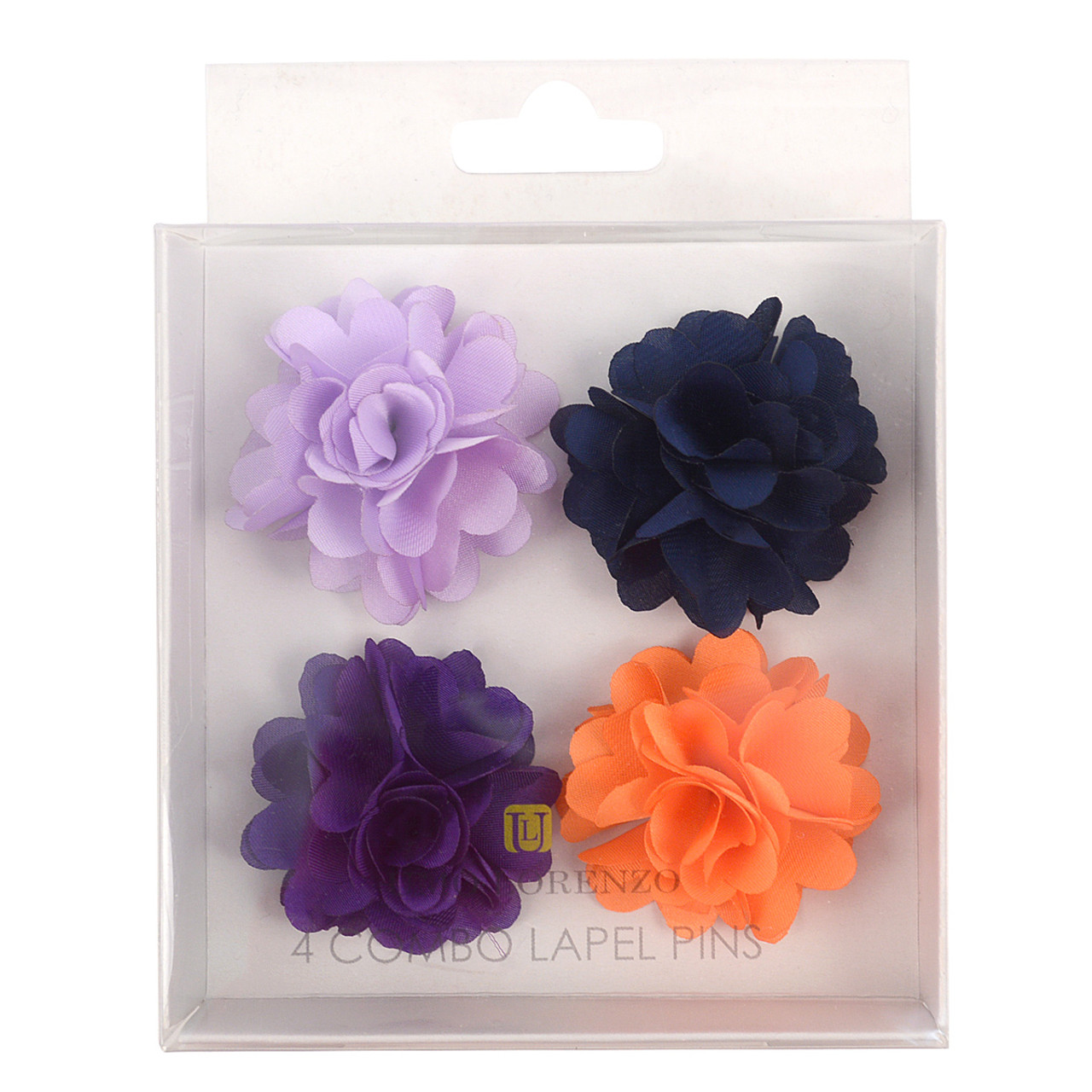 Assorted Solid Mini Bouquet Clutch Back Flower Lapel Pin 4pc Combo