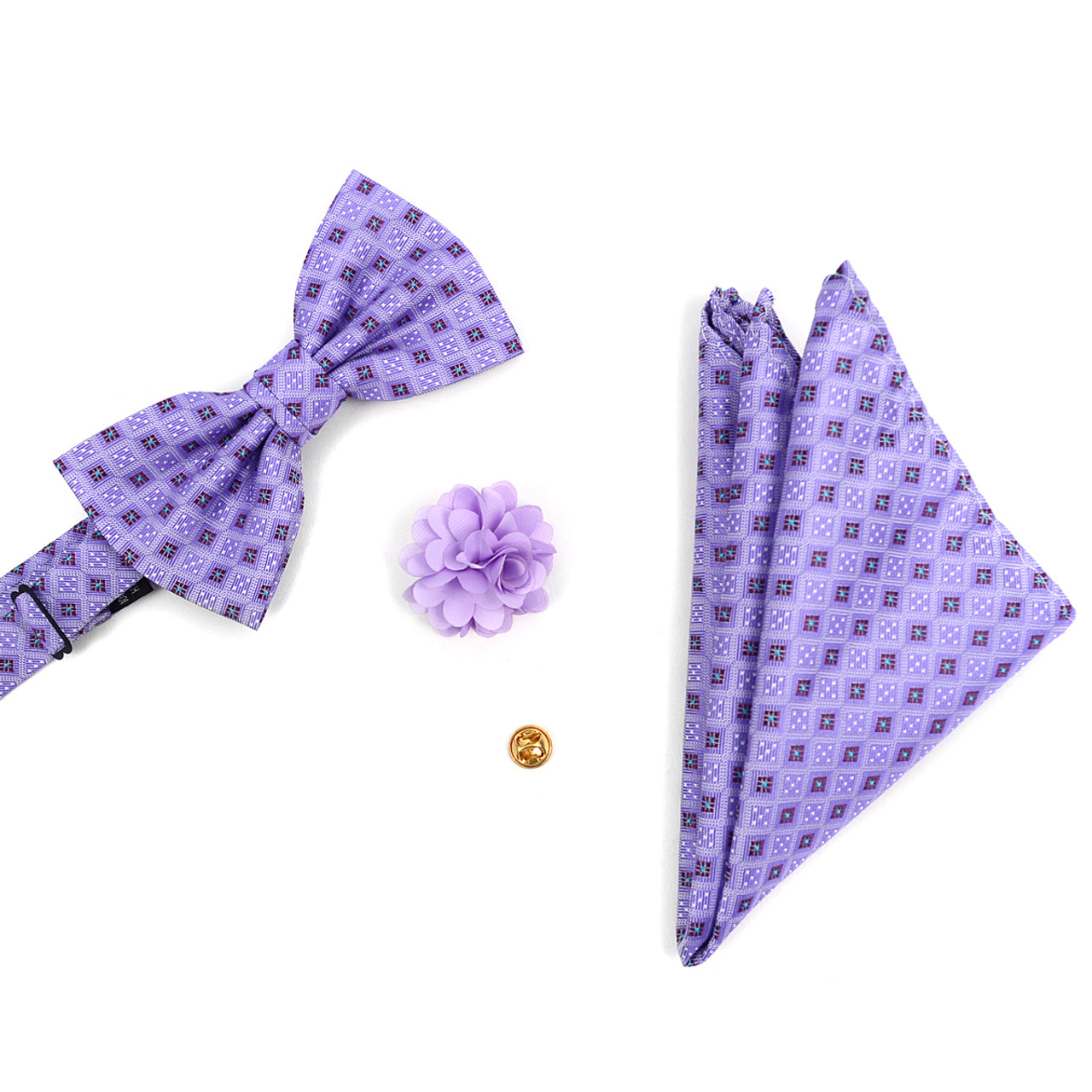 Well-known Square Dotted Banded Bow Tie, Matching Hanky & Lapel Pin Set  OR07