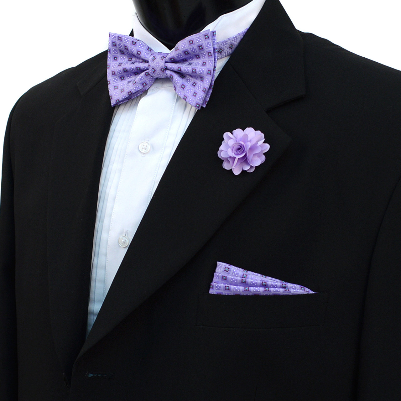 Fresh Square Dotted Banded Bow Tie, Matching Hanky & Lapel Pin Set  BU99