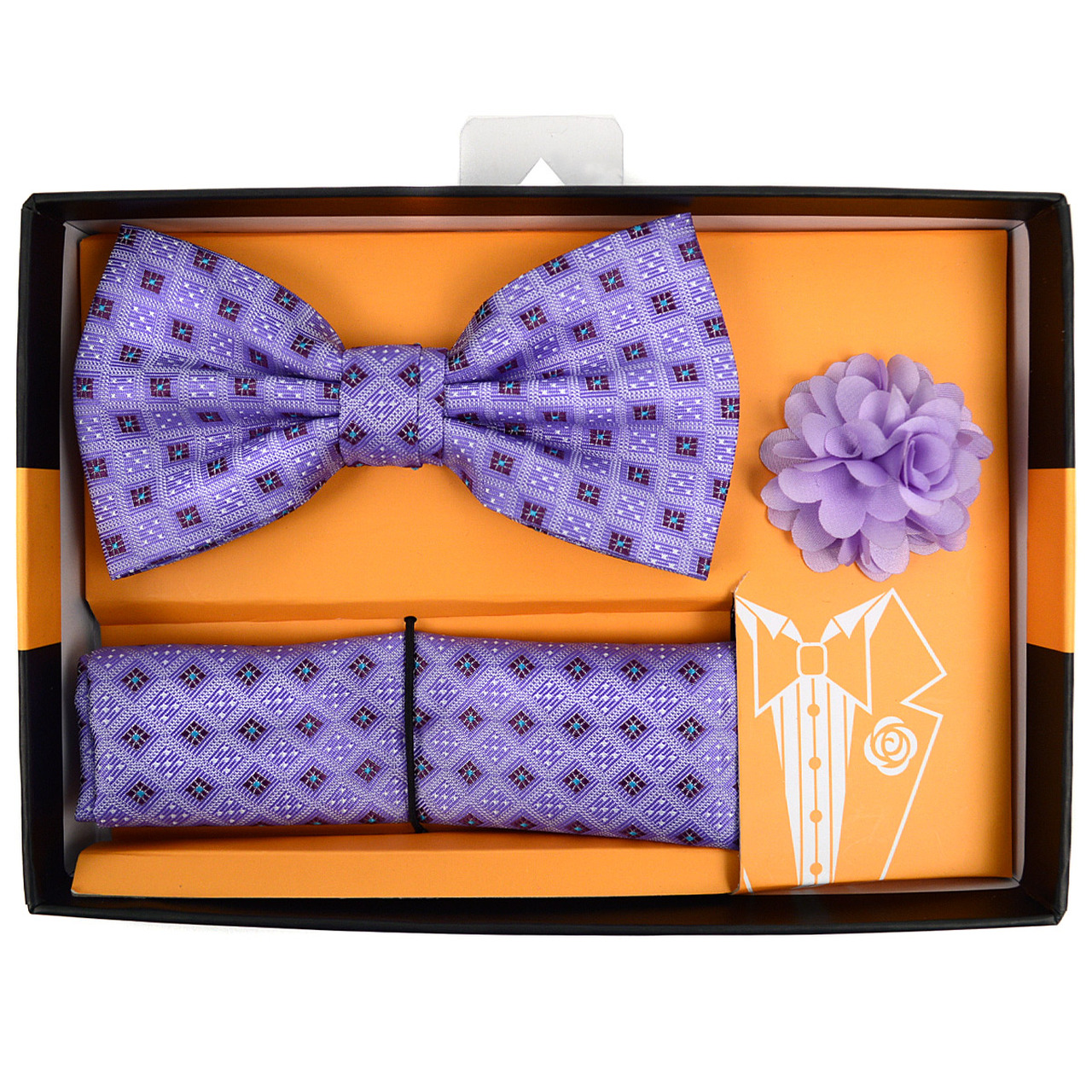 Super Square Dotted Banded Bow Tie, Matching Hanky & Lapel Pin Set  OE97