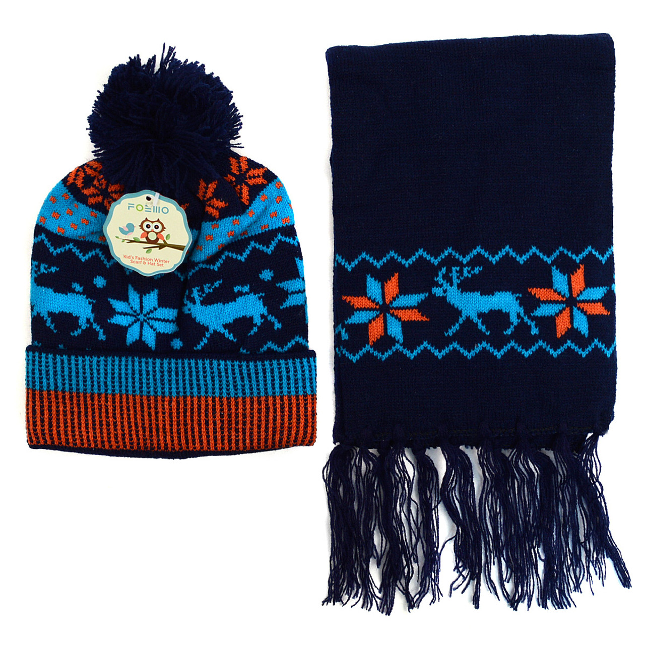Winter Knitted Snowflake Reindeer Pom Beanie Scarf with Tassel and ...