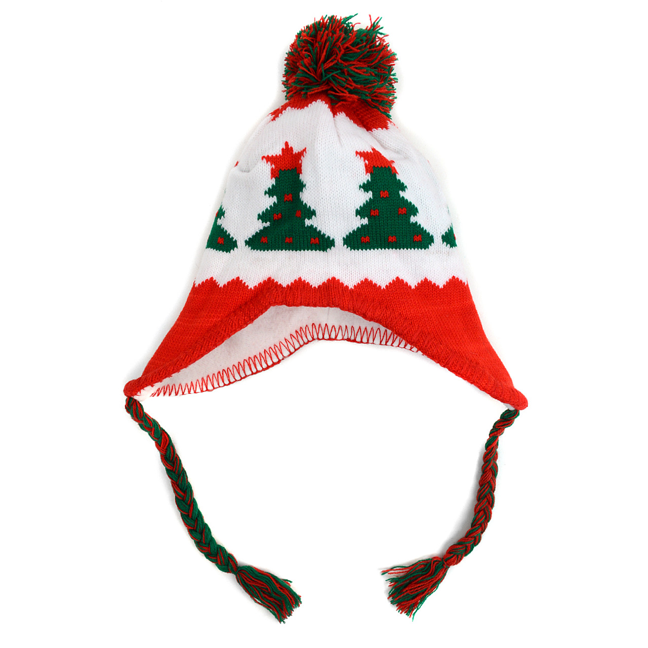 Kid\'s Winter Knitted Ear Flap Lined Christmas Tree Pom Beanie Scarf ...