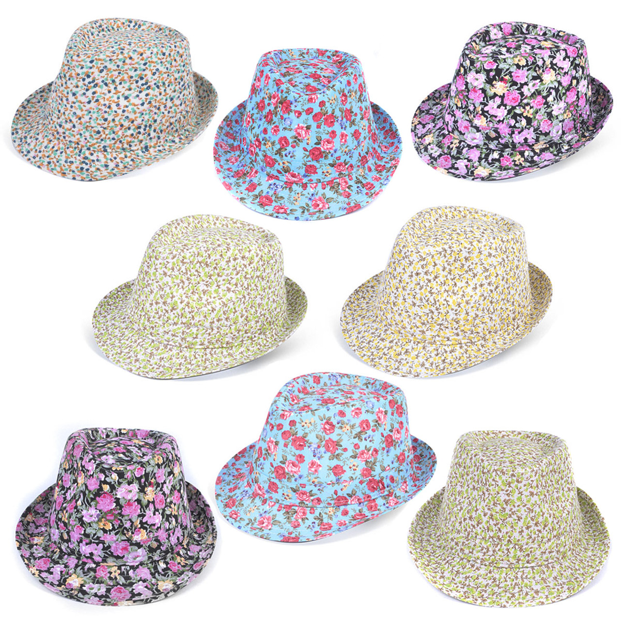 36pc Mixed Unisex Floral Trilby Fedora Hats H7800-CO 4f9625a2926b