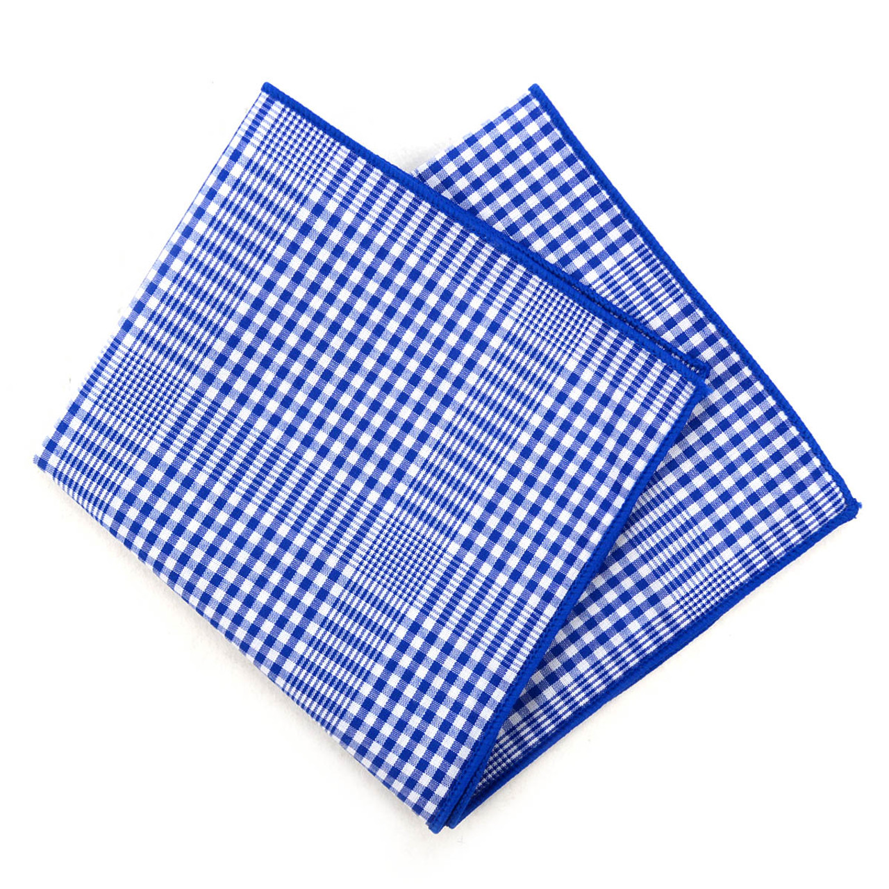 12pc Blue & White 100% Cotton Checkered Plaid Pocket Square Handkerchiefs