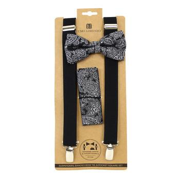 3pc Men's Black Clip-on Suspenders, Paisley Bow Tie & Hanky Sets FYBTHSU-BK8