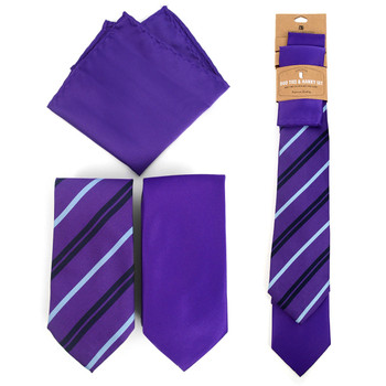 Striped & Solid Purple Microfiber Poly Woven Two Ties & Hanky Set - TH2X-PUR3
