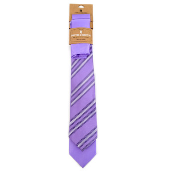 Striped & Solid Lavender Microfiber Poly Woven Two Ties & Hanky Set - TH2X-LAV1