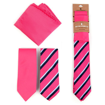Striped & Solid Fuchsia Microfiber Poly Woven Two Ties & Hanky Set - TH2X-FA1